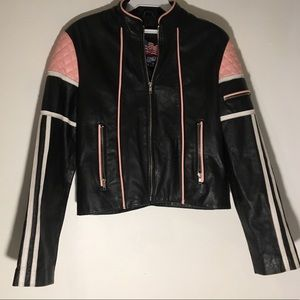 Jackets & Blazers - LEATHER PINK AND BLACK JACKET